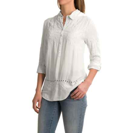dylan Romantic Embroidered Tunic Shirt - Rayon, Long Sleeve (For Women) in White - Closeouts