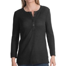 dylan Rugby Waffle Shirt - Long Sleeve (For Women) in Black - Closeouts