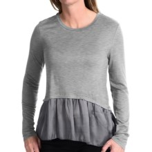 dylan Satin and Knit Crop Top - Long Sleeve  (For Women) in Heather - Closeouts