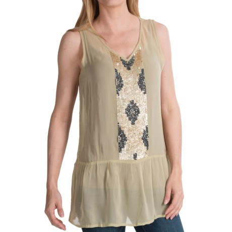 dylan Sequin Panel Chiffon Ruffle Tank Top (For Women)