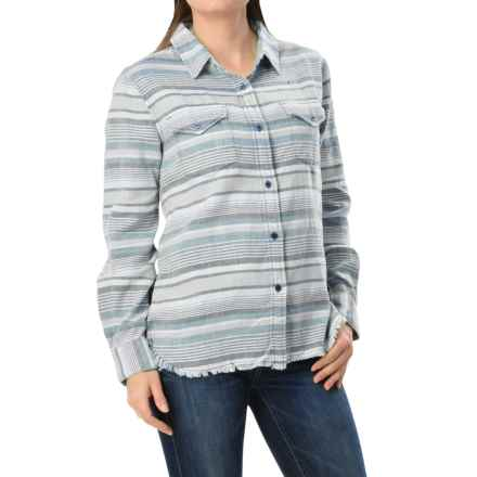 dylan Serape Fringe Shirt - Long Sleeve (For Women) in Faded Blue - Closeouts