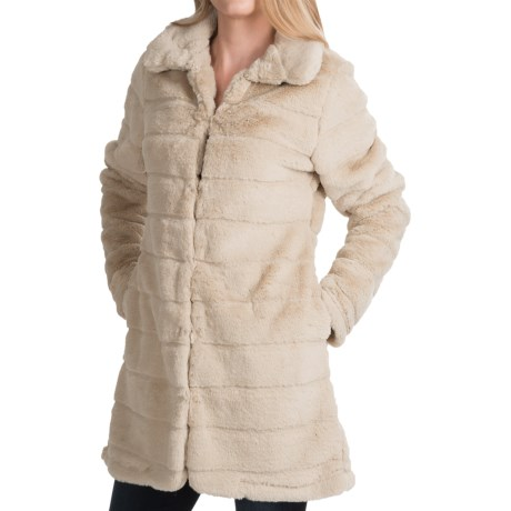 dylan Sheared Stripe Coat Faux Fur (For Women)