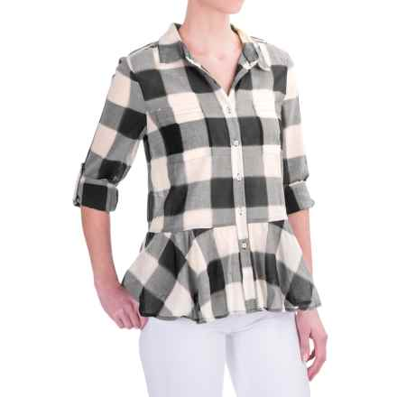 dylan Sheer Buffalo Plaid Peplum Blouse - Long Sleeve (For Women) in Black - Closeouts