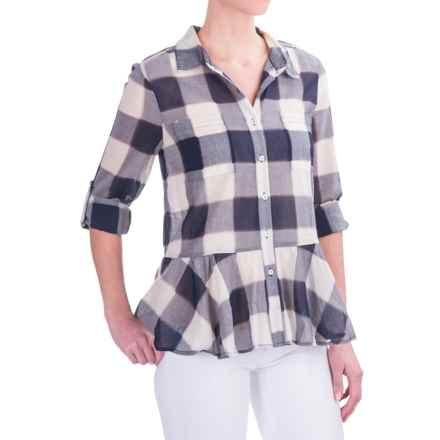 dylan Sheer Buffalo Plaid Peplum Blouse - Long Sleeve (For Women) in Indigo - Closeouts