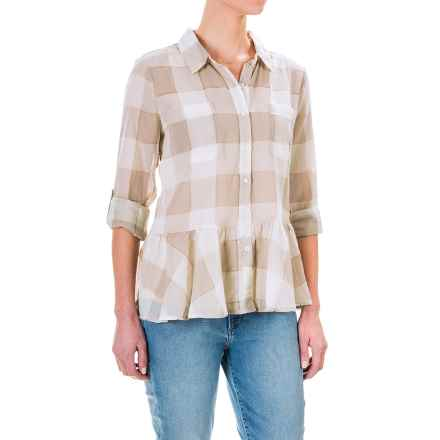 dylan Sheer Buffalo Plaid Peplum Blouse - Long Sleeve (For Women) in Vintage Khaki - Closeouts