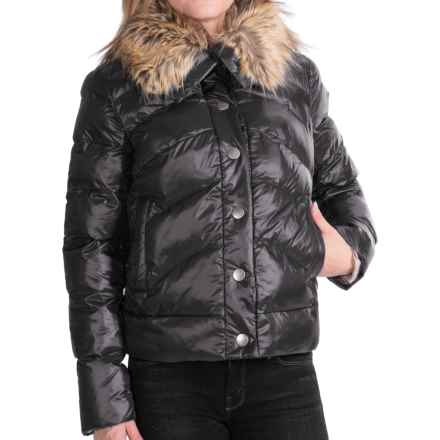 dylan Short Quilted Jacket - Faux-Fur Collar (For Women) in Black - Closeouts