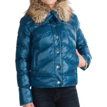 dylan Short Quilted Jacket - Faux-Fur Collar (For Women) in Blue - Closeouts