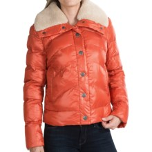 dylan Short Quilted Jacket - Sherpa Collar (For Women) in Orange - Closeouts