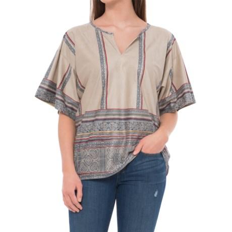 dylan Sierra Suede Isabel Shirt - Short Sleeve (For Women) in Natural