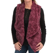 dylan Silky Faux-Fur Draped Vest (For Women) in Burgundy - Closeouts