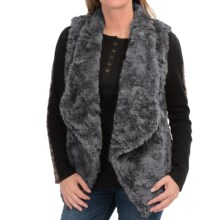 dylan Silky Faux-Fur Draped Vest (For Women) in Charcoal - Closeouts