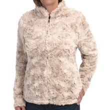 dylan Silky Faux-Fur Jacket - Mock Neck (For Women) in Winter White - Closeouts