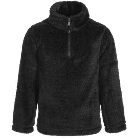 dylan Silky Pile Cool Sweater - Zip Neck (For Little and Big Kids) in Vintage Black - Closeouts