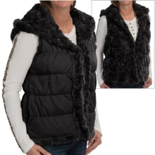 dylan Silky Puffer Hooded Faux Fur Vest - Reversible (For Women) in Black - Closeouts