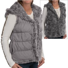 dylan Silky Puffer Hooded Faux Fur Vest - Reversible (For Women) in Charcoal - Closeouts