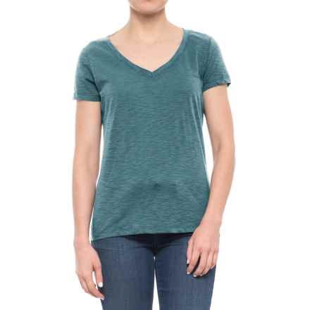dylan Slub Classic V-Neck T-Shirt - Short Sleeve (For Women) in Aqua - Closeouts