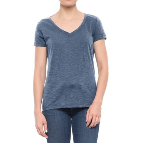 dylan Slub Classic V-Neck T-Shirt - Short Sleeve (For Women) in Blue