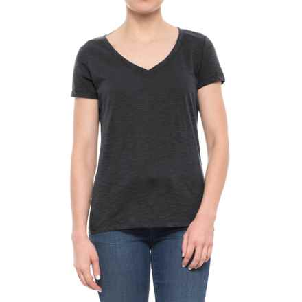 dylan Slub Classic V-Neck T-Shirt - Short Sleeve (For Women) in Heather/Black - Closeouts