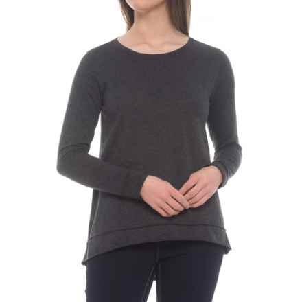 dylan Slub Gauzy Asymmetrical Shirt - Long Sleeve (For Women) in Heather/Black - Closeouts