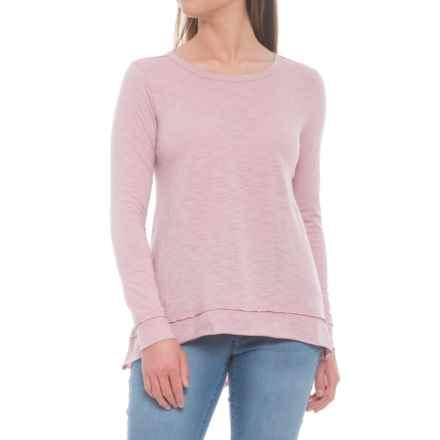 dylan Slub Gauzy Asymmetrical Shirt - Long Sleeve (For Women) in Pink - Closeouts