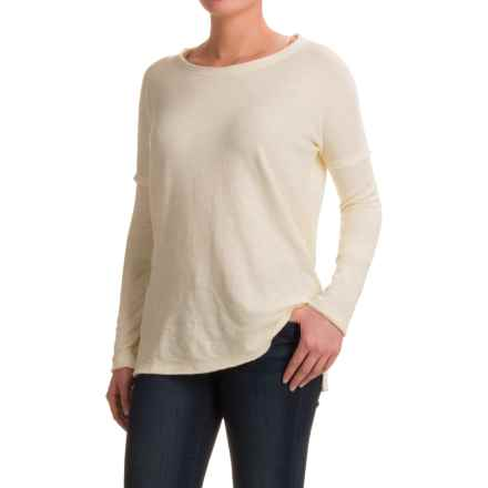 dylan Slub-Knit Drop Shoulder Seam T-Shirt - Long Sleeve (For Women) in Chalk - Closeouts