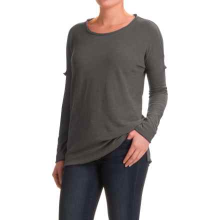 dylan Slub-Knit Drop Shoulder Seam T-Shirt - Long Sleeve (For Women) in Soft Black - Closeouts