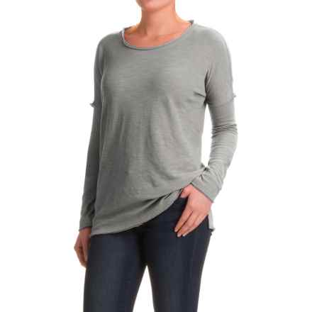 dylan Slub-Knit Drop Shoulder Seam T-Shirt - Long Sleeve (For Women) in Vintage Blue - Closeouts