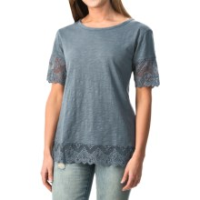 dylan Slub Lace-Trim T-Shirt - Short Sleeve (For Women) in Vintage Indigo - Closeouts