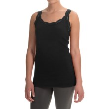 dylan Solid Lace-Trimmed Tank Top (For Women) in Black - Closeouts