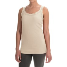 dylan Solid Lace-Trimmed Tank Top (For Women) in Ivory - Closeouts