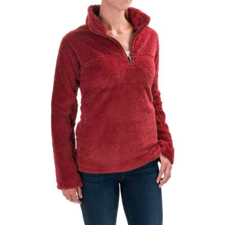 dylan Solid Silky Pile Shirt - Zip Neck, Long Sleeve (For Women) in Red - Closeouts