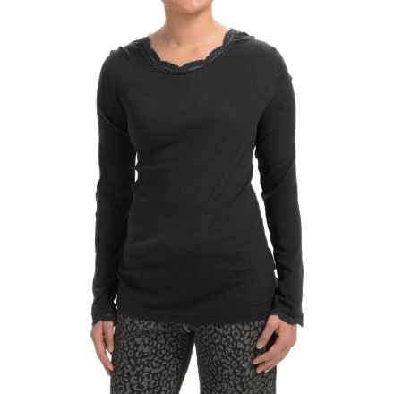 dylan Solid T-Shirt with Lace Neckline and Cuffs - Long Sleeve (For Women) in Black - Closeouts