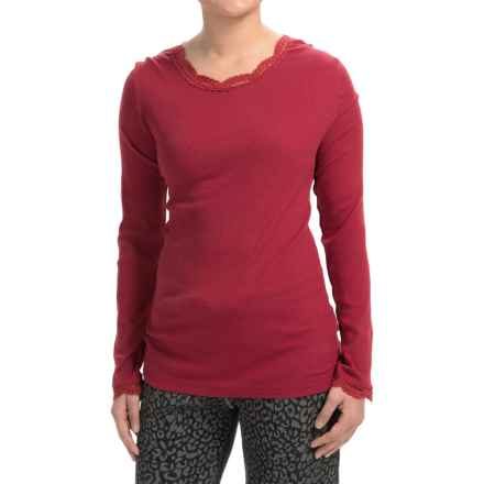 dylan Solid T-Shirt with Lace Neckline and Cuffs - Long Sleeve (For Women) in Red - Closeouts