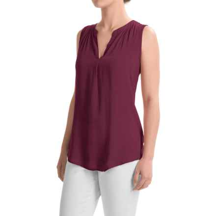 dylan Solid Tunic Shirt - Sleeveless (For Women) in Claret - Closeouts