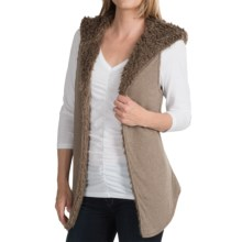 dylan Sweatshirt & Fur Reversible Vest - Faux Fur, Attached Hood (For Women) in Vintage Brown - Closeouts
