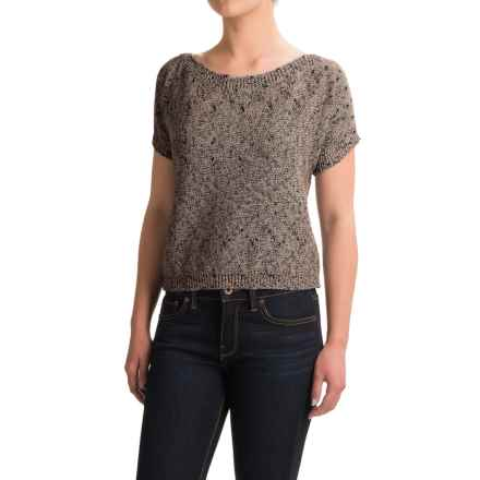dylan Texture Spring Sweater - Boat Neck, Short Sleeve (For Women) in Black/Natural - Closeouts