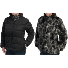 dylan Textured Black Fur and Nylon Mock Jacket - Reversible, Faux Fur (For Women) in Texture Black - Closeouts
