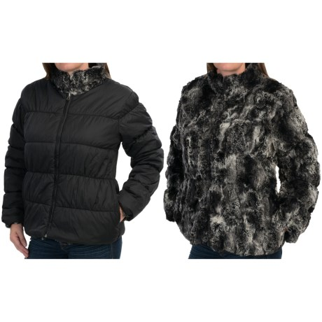 dylan Textured Black Fur and Nylon Mock Jacket Reversible, Faux Fur (For Women)