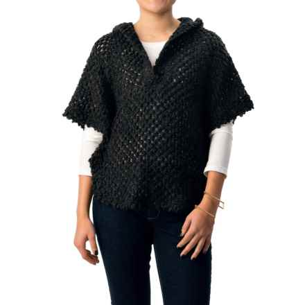 dylan Textured Poncho - Hooded, Short Sleeve (For Women) in Black - Closeouts