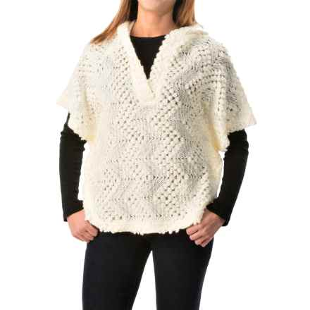 dylan Textured Poncho - Hooded, Short Sleeve (For Women) in Vintage White - Closeouts