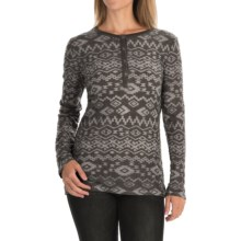 dylan Tribal Burnout Shirt - Button Neck, Long Sleeve (For Women) in Charcoal - Closeouts