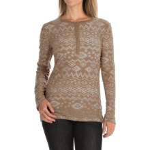 dylan Tribal Burnout Shirt - Button Neck, Long Sleeve (For Women) in Cocoa - Closeouts