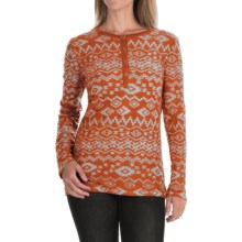 dylan Tribal Burnout Shirt - Button Neck, Long Sleeve (For Women) in Orange Red - Closeouts