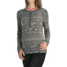 dylan Tribal Burnout Shirt - Button Neck, Long Sleeve (For Women) in Vintage Grey - Closeouts