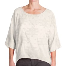 dylan Tribal Stitch Shirt - Cotton-Silk, Dolman Short Sleeve (For Women) in Natural - Closeouts