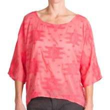 dylan Tribal Stitch Shirt - Cotton-Silk, Dolman Short Sleeve (For Women) in Red Orange - Closeouts