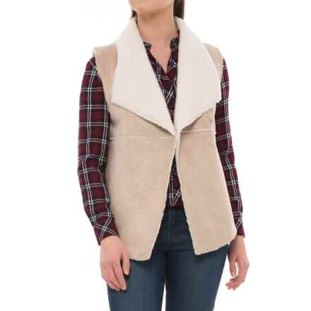 1f94a2ab8a399 dylan Velvet Suede and Fur Reversible Snap Vest (For Women) in Chamois -  Closeouts