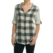dylan Vintage Buffalo Check Blouse - Roll-Up Long Sleeve (For Women) in Chalk - Closeouts