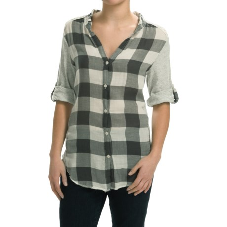 dylan Vintage Buffalo Check Blouse Roll Up Long Sleeve (For Women)