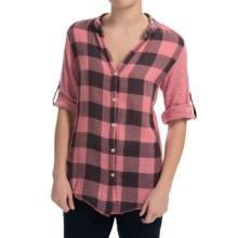 dylan Vintage Buffalo Check Blouse - Roll-Up Long Sleeve (For Women) in Pink - Closeouts